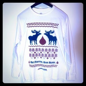 Give Blood Ugly Christmas Sweater Festive Moose M